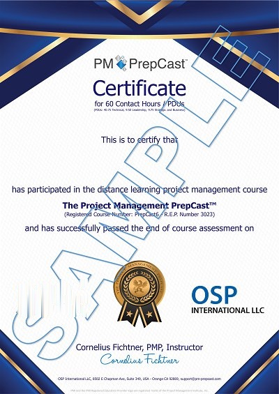 PMP Certifcate Sample for Contact Hours
