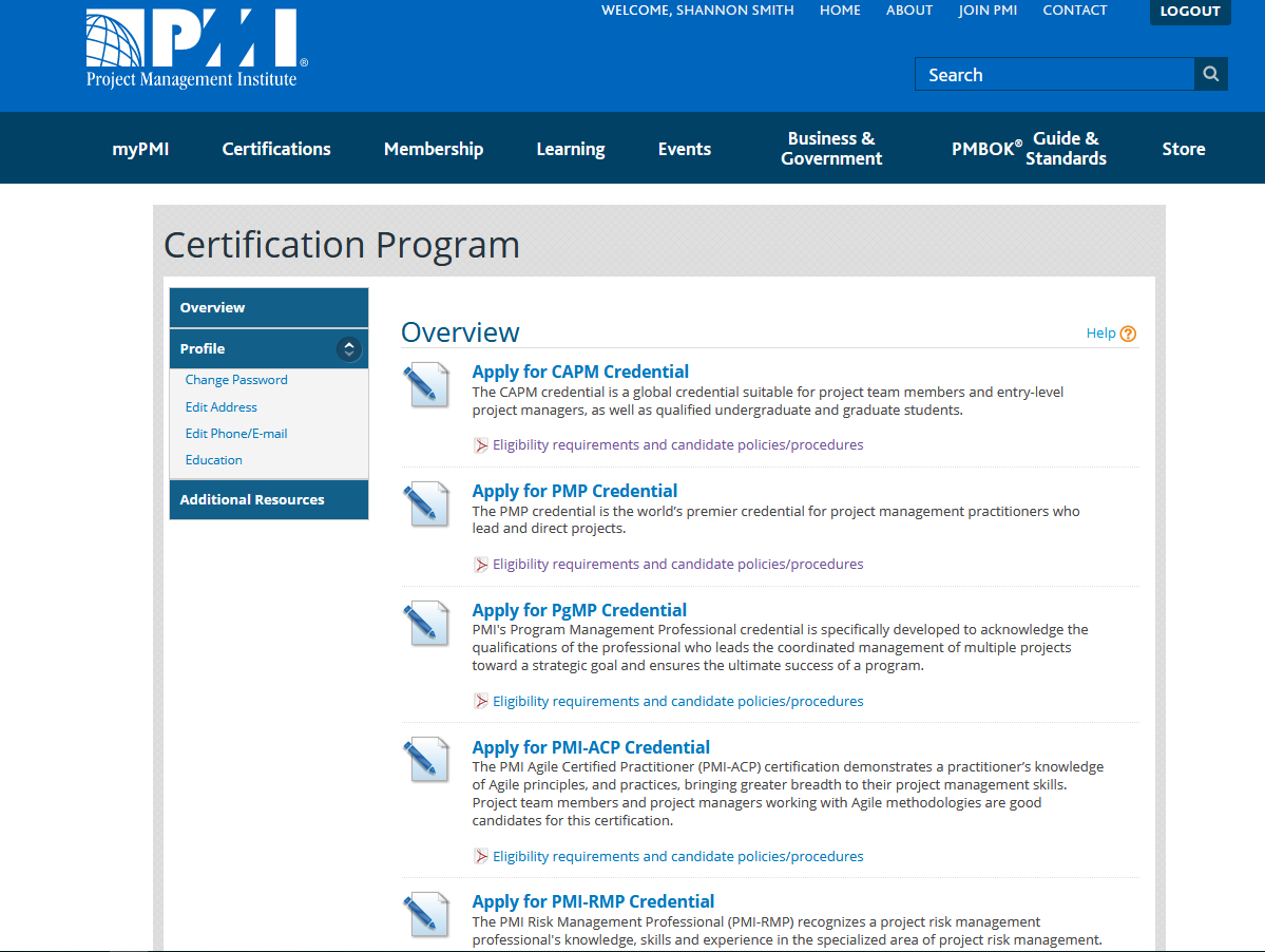 A list of the available PMI certifications