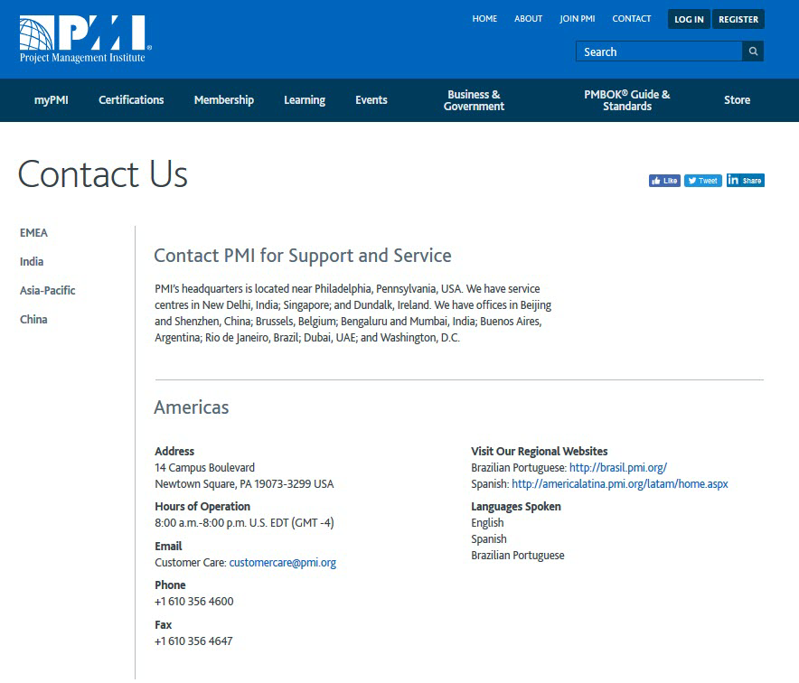 PMI website Contact page