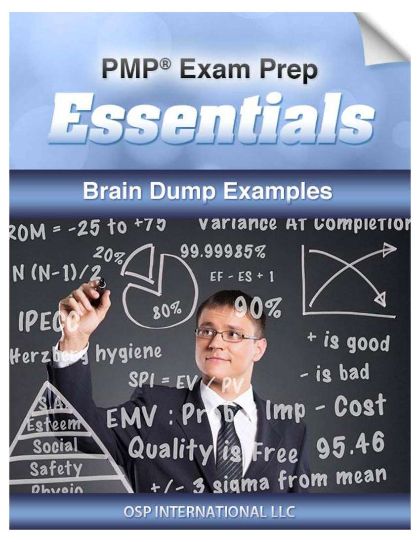 PMP Exam Prep Essentials Brain Dump Examples Page